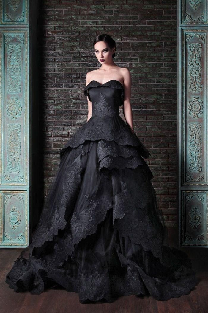 Bridal Dress Wedding Dress Black abito da sposa nero New Gothic Style Sweetheart Lace Applique Ball Gown Gowns   2017