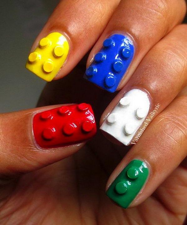 3D Lego Nails, Cool 3D Nail Art, http://hative.com/cool-3d-nail-art/,