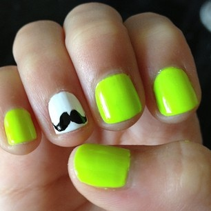 mustache nd lime green nails love them