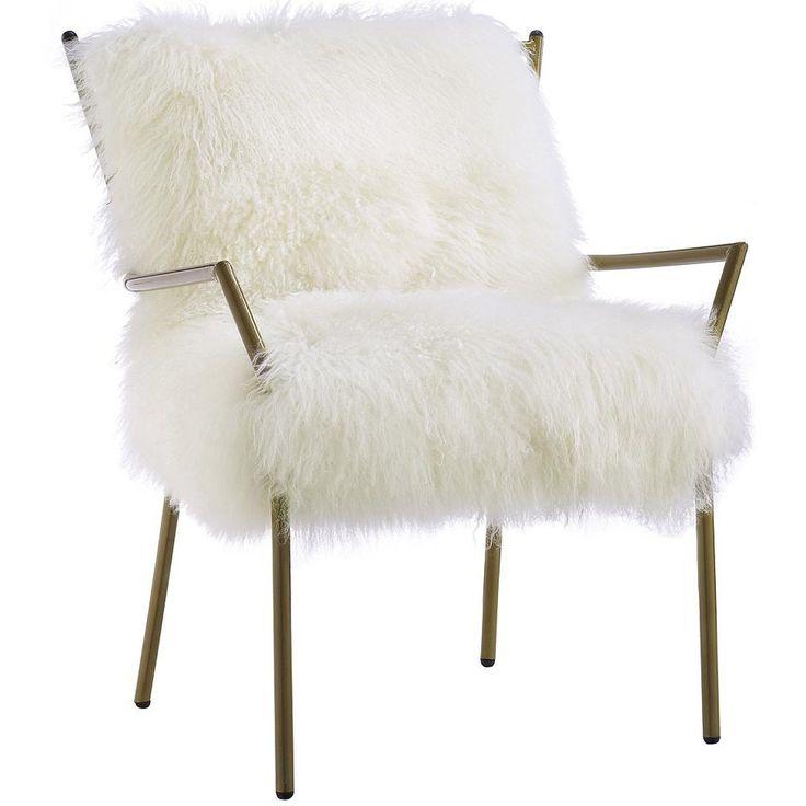 Shag Sheepskin Chair, White