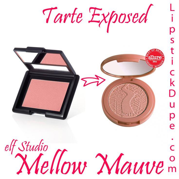 Tarte Exposed dupe elf studio blush mellow mauve #TarteDupe #makeupDupe #blushDupe www.lipstickdupe.com