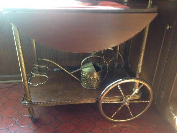 Tea Wagon Mid Century. Wood Brass, French. Craigslist Detroit