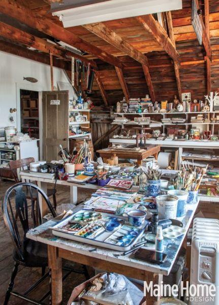 An artist's home office