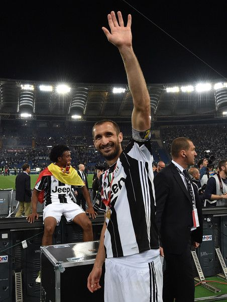 Giorgio Chiellini of Juventus FC celebrates the victory after the TIM Cup match between AC Milan and Juventus FC at Stadio Olimpico on May 21, 2016 in Rome, Italy.