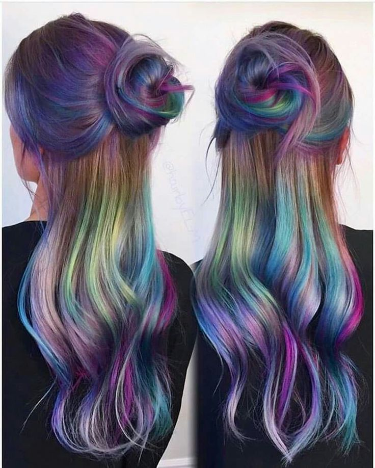 Oil spill hair Beauty: Fantasy Unicorn Purple Violet Red Cherry Pink yellow Bright Hair Colour Color Coloured Colored Fire Style curls haircut lilac lavender short long mermaid blue green teal orange hippy boho ombré woman lady pretty selfie style fade makeup grey white silver trend trending Pulp Riot