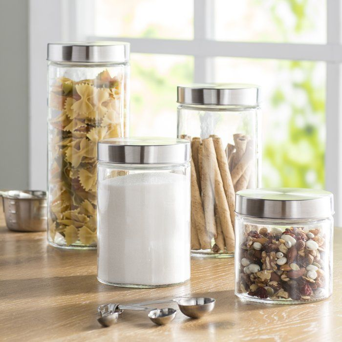 Basics 4 Piece Round Screw Top Glass Kitchen Canister Set