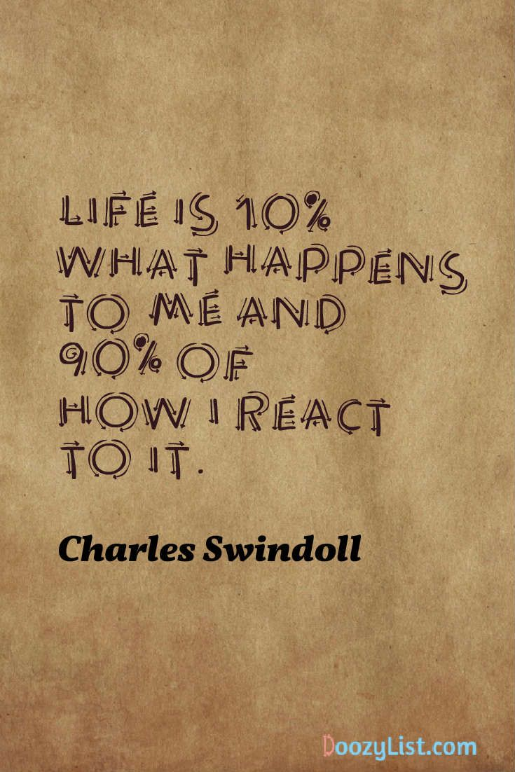 Life is 10% what happens to me and 90% of how I react to it. Charles Swindoll