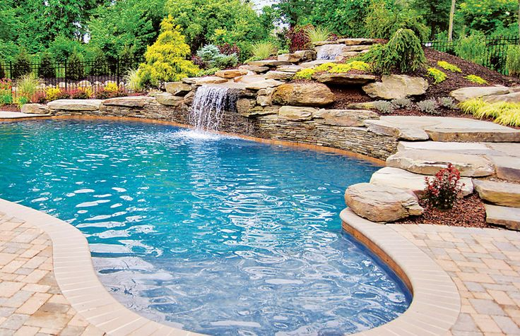 25 best ideas about rock waterfall on pinterest garden for Custom swimming pool designs