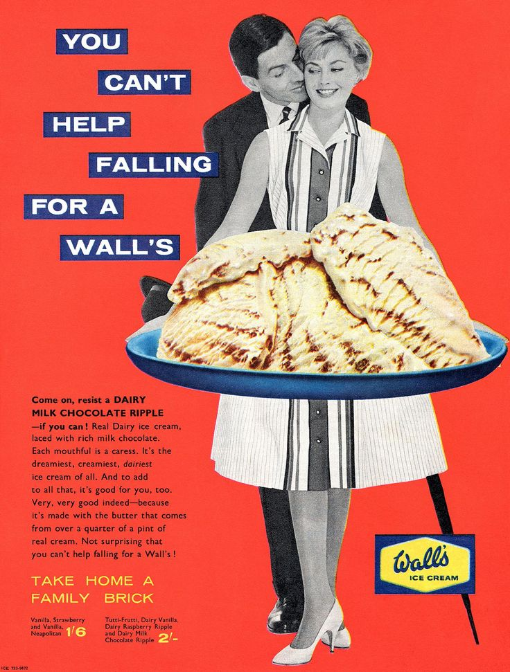 """...Each Mouthful is a Caress"" – Wall's Ice Cream Ad from the 1950s : vintageads"