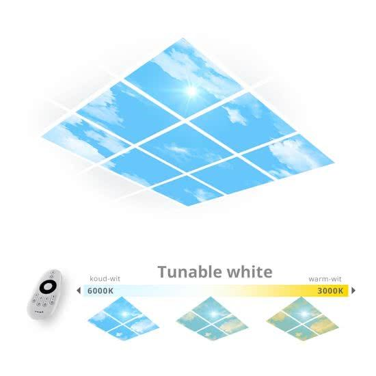 Een daglicht wolken plafond van 9 panelen met tunable white LED verlichting.  Haal je het daglicht binnen op kantoor en dim je eigen wit tinten (warm wit en koud wit).