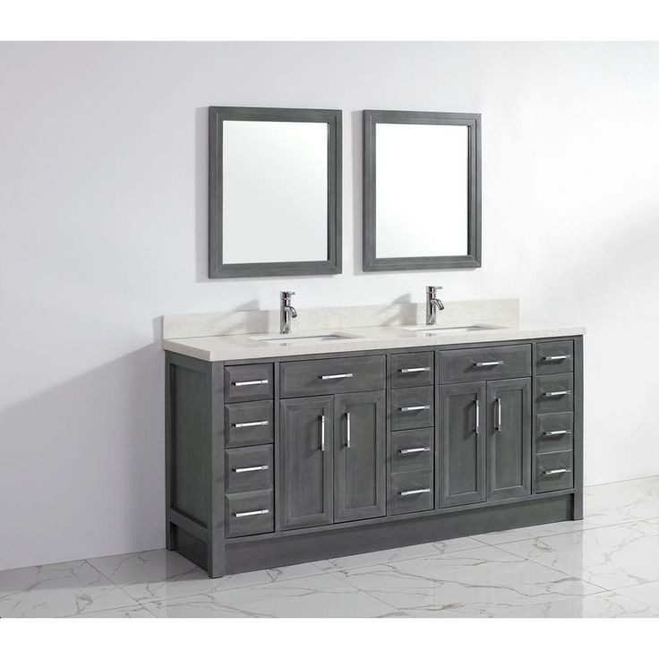 calais 75 inch double sink bathroom vanity french gray finish six single and three doubledeep drawers wood framed mirrors stone countertop