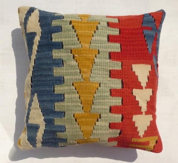 Decorative Wool Throw Pillow Kilim Cushion by PillowTalkOnEtsy, $38.00