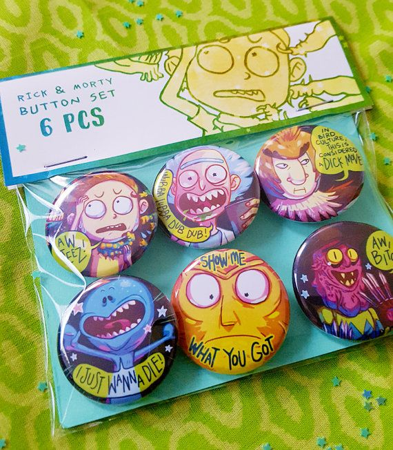 ★RICK AND MORTY BUTTONS★ - a button set of all your favorite characters -  ---  A set of 6 Rick and Morty character buttons! this set includes: -Rick -Morty -Bird Person -Scary Terry -Cromulon -Mr. Meeseeks  ---  ★please note: the colors may vary slightly depending on how your monitor is calibrated. this is normal, and shouldnt be a significant difference★  ★let me know if you have any questions!★