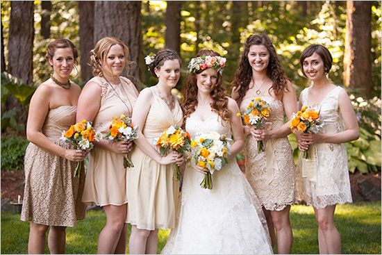 beige bridesmaid dresses- all different styles, but also all different shades of beige... I like it!