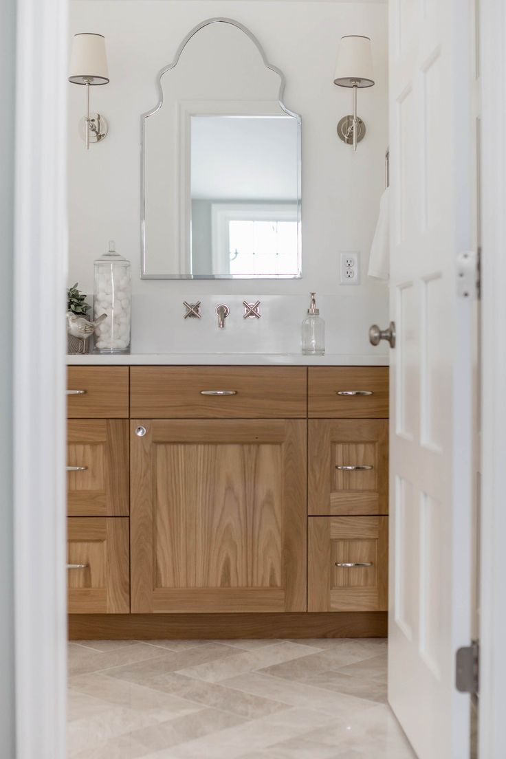 White Oak Custom Bathroom Vanity White Countertops Scalloped Mirrors Herringbone Style Tile Jkath D In 2020 Oak Bathroom Vanity Custom Bathroom Vanity Oak Bathroom