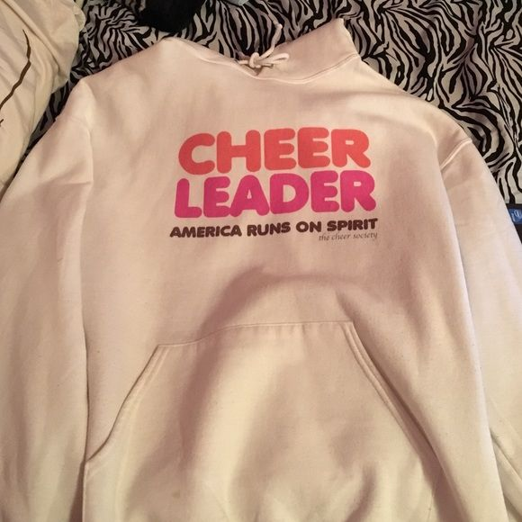 White cheerleading hoodie Selling this because it is just too big, worn only a few times! Jackets & Coats