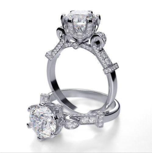 Real 2.90 Ct Round Cut Diamond Cinderella Engagement Ring G,SI1 GIA  Platinum New