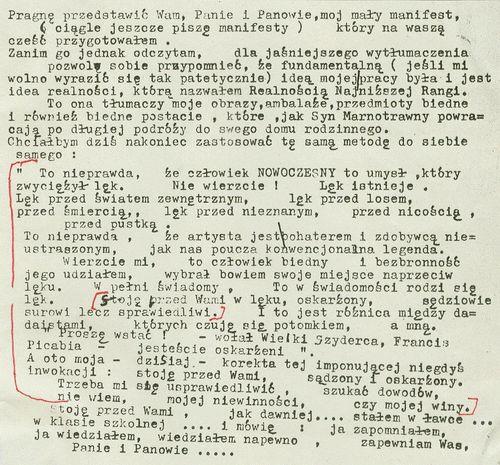 Tadeusz Kantor, Mały Manifest, 1978, maszynopis autorski Archiwum Cricoteki