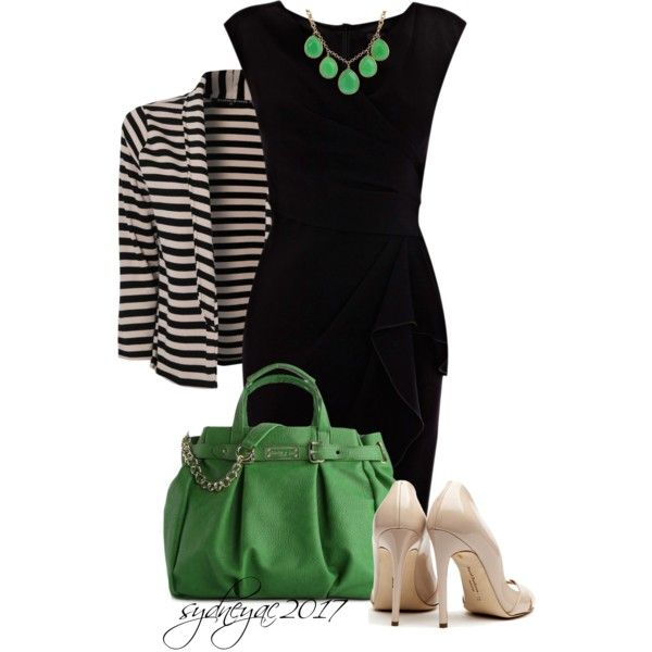 green accents with nude heels