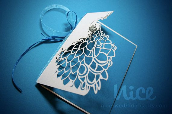 30 PEACOCK wedding invitation laser cut / min by niceWeddingCards #bLBride
