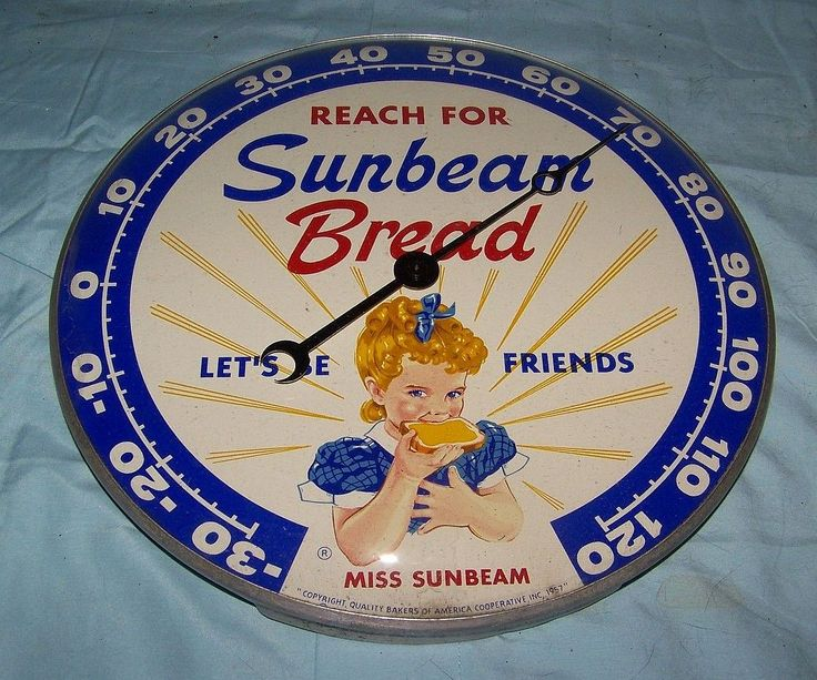 Sunbeam Bread Vintage Thermometer (Old 1957 Antique Bakery