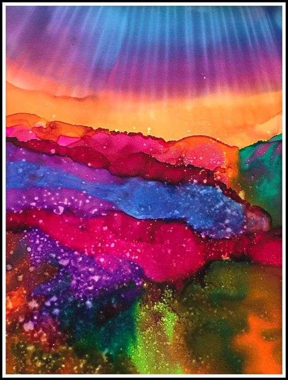 This vibrant and colorful abstract is a fantastical garden or perhaps a magical forest!! It is made with alcohol inks, a highly pigmented medium with vibrant colors. The painting is 12x16 inches and is matted to an 16x20 finished work. For me, alcohol inks are perfectly made for abstract paintings. This is a medium I have been studying for a long time and am loving the creative process. This image is a limited edition signed giclee print printed on a professional photo printer on premium…