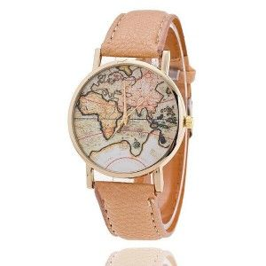 MAP LEATHER WATCH NUDE