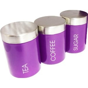See all 1 image(s)   View all 1 customer image(s) and share yours      Set of 3 Purple Tea Coffee Sugar Storage Canisters Kitchen Accessories