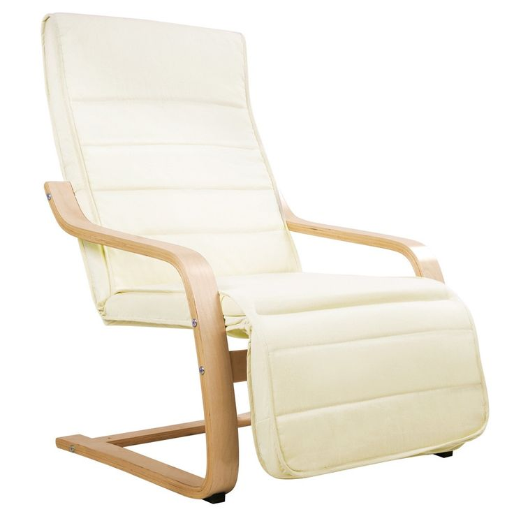 Birch Bentwood Adjustable Recliner Lounge ArmChair with Fabric Cushion Beige
