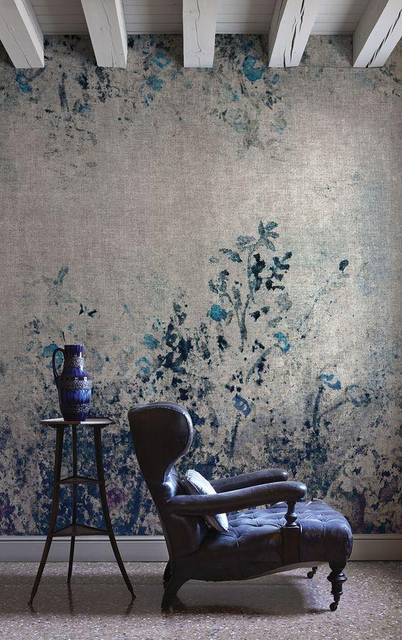 intérieur ancien, déco : papier mural, gris-bleu…