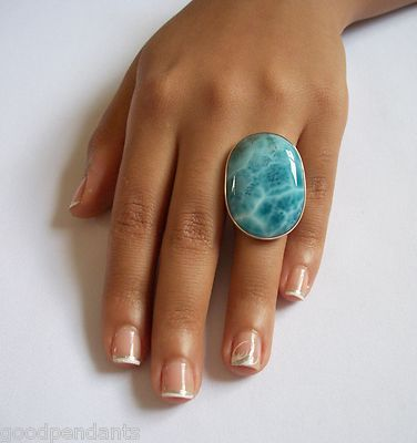 BIG DOMINICAN AAA OVAL-SHAPED MARBLED LARIMAR STONE .925 SILVER RING JEWELRY