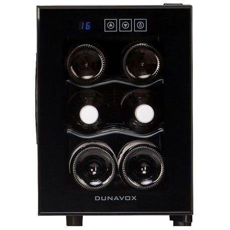 Racitor vinuri termoelectric DAT-6.16C Dunavox DAT-6.16C este cel mai mic racitor de vinuridin gama Dunavox; poate fi instalat direct pe masă sau pe blat. Poate stoca maximum 6 sticle de 0,75 litri.