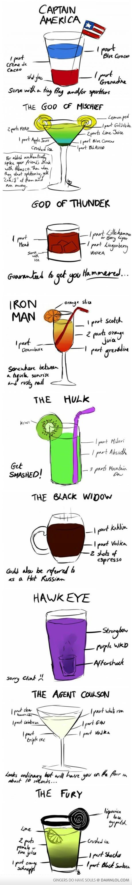 Avengers drinks!! This cracks me up. Obviously I'm not going to make them (yet), but these are too funny to ignore