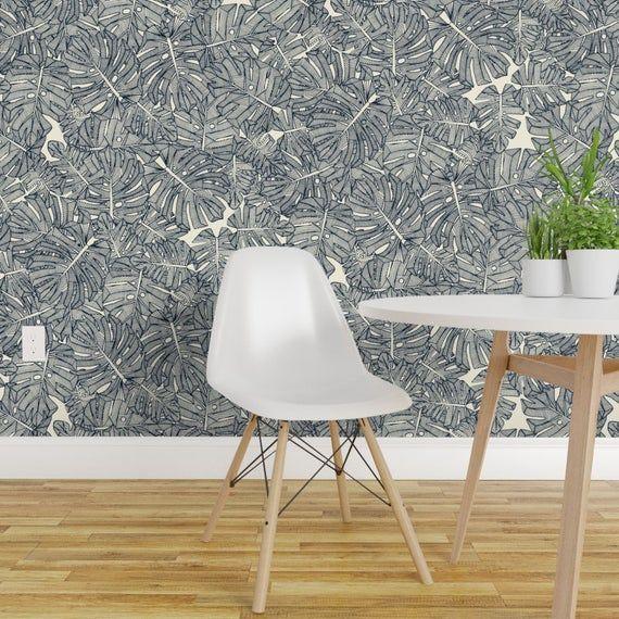 Monochrome Jungle Wallpaper Monstera Leaves Pearl By Scrummy Black White Minimal Botanical Wallpaper Double Roll By Spoonflower White Wallpaper Wallpaper Botanical Wallpaper