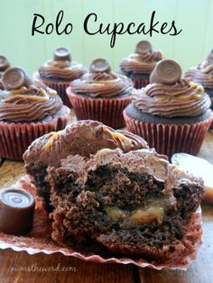 The caramel filling in these cupcakes is TO DIE FOR! Chocolate cupcakes, filled with homemade caramel sauce {easy}, topped with chocolate buttercream, drizzled in more caramel and topped with a Rolo. Best cupcakes I've ever had!