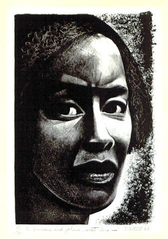 ''Head of a woman''1967, Lithograph - by Elizabeth Catlett (April 15, 1915-April 2, 2012) was an African-American sculptor and printmaker. Catlett is best known for the black, expressionistic sculptures and prints she produced during the 1960s and 1970s, which are seen as politically charged.