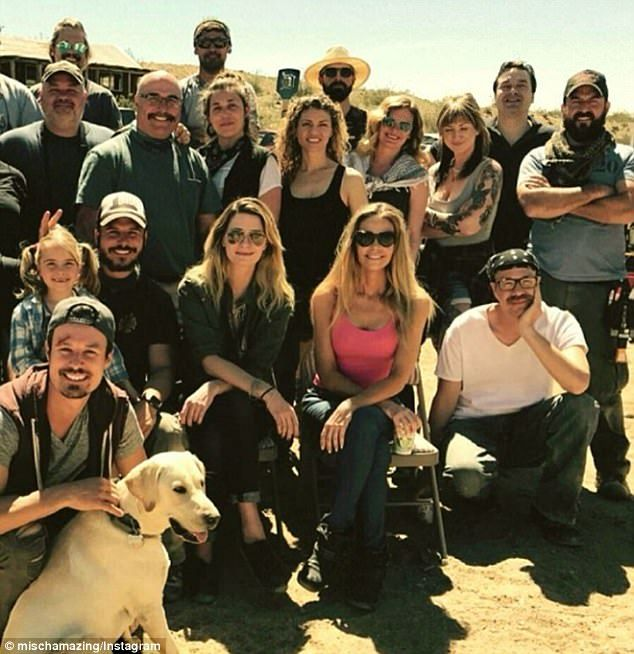 On set: Mischa Barton shared this photo of herself on the set of her new movie, The Toybox, with the cast and crew, including Denise Richards