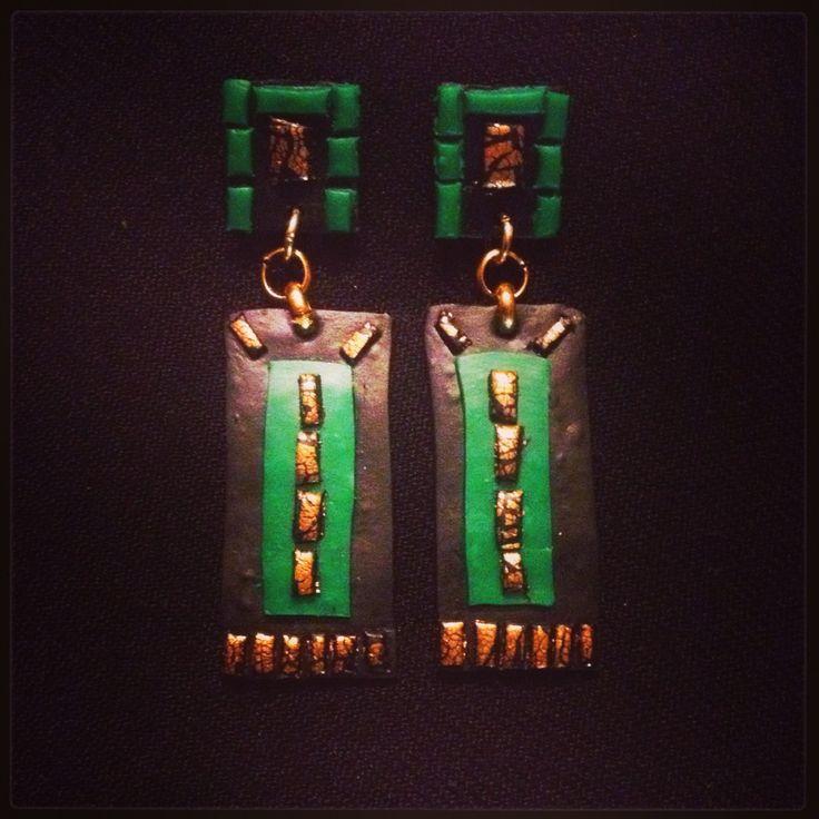 Black green gold earrings