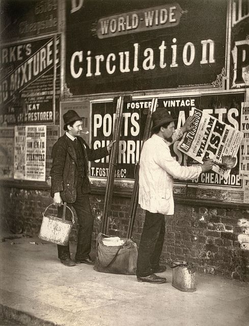 Street Advertising. From 'Street Life in London', 1877, by John Thomson and Adolphe Smith.