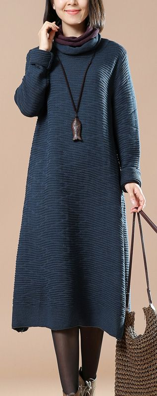 $74.00-chunky blue long knit dress  pullover sweater boutique pullover #knit#sweaterdress#sweaterdress#omychic