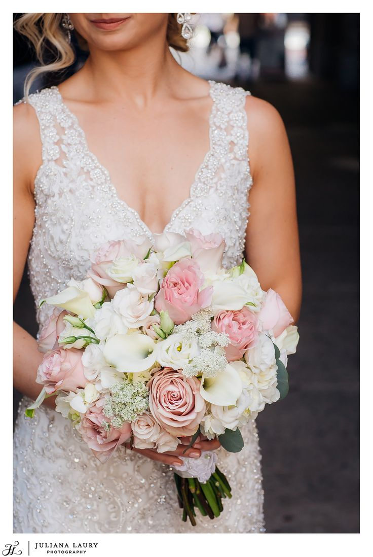 white and blush wedding bouquet, calla lilies, blush roses, white hydrangea