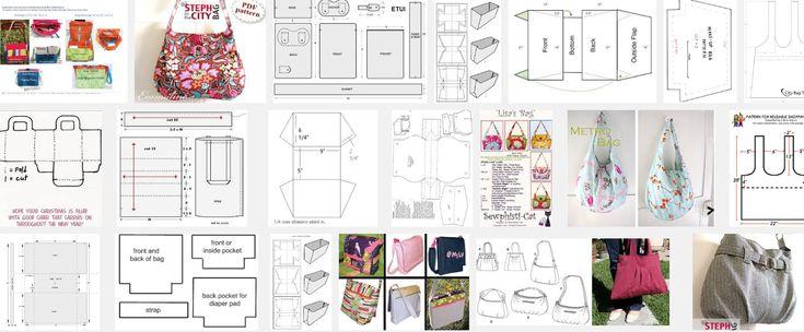 Patroon gratis om een tas te naaien. Je zoekt hieronder het patroon van de tas die jij wil maken. Je print het patroon en je neemt de patroondelen