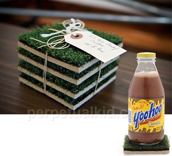 Porta Copos feitos de grama!