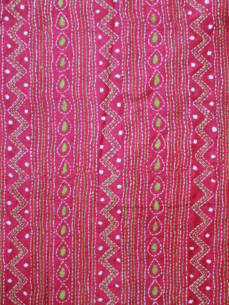 Buy Magenta with Neon Green Hand Embroidered Kantha Fabric