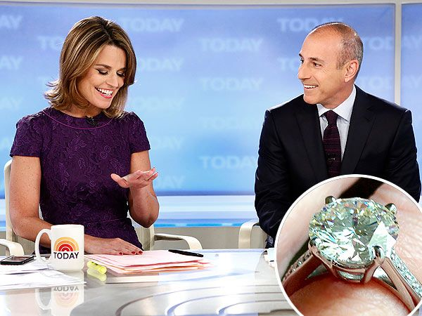 Savannah Guthrie engaged to Mike Feldman. Round solitaire diamond in a classic platinum setting with pave diamonds.