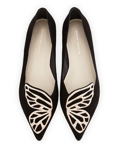 How cute are these?  Sophia Webster Papillon Embroidered Suede Flat, Black/Rose Gold @Neiman