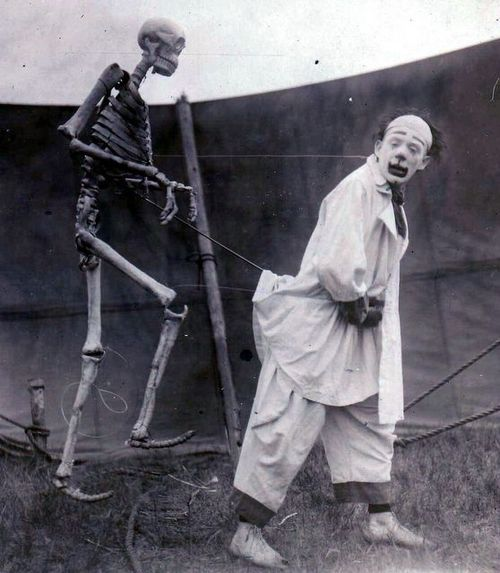 maudelynn:    Vintage photo of a French Circus Clown and his Friend    aka, know what is better than a clown?  A clown followed around by a creepy skeleton.