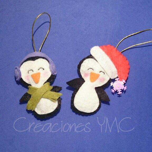 Pingüinos para adornar tu árbol de Navidad    #hechoamano #fieltro