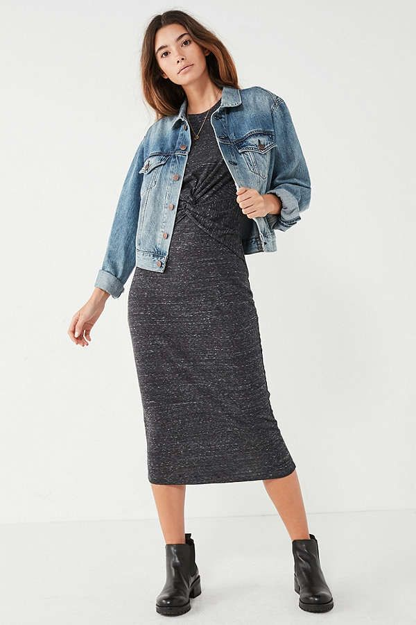 UO Knot-Front Midi T-Shirt Dress | Urban Outfitters