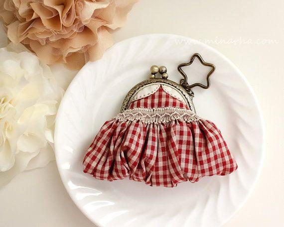 Dress Coin Purse, Miniature  Dress, Frame purse, Hand Smocking, Key Chain